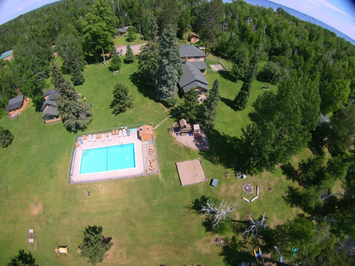aerial picture Lake Vermilion resort with pool