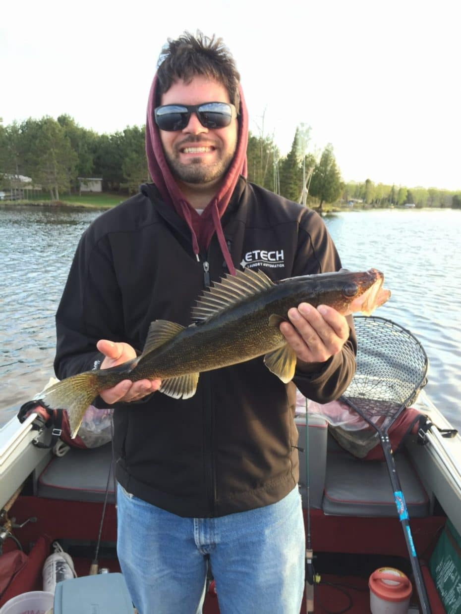 man with May walleye on Lake Vermilion
