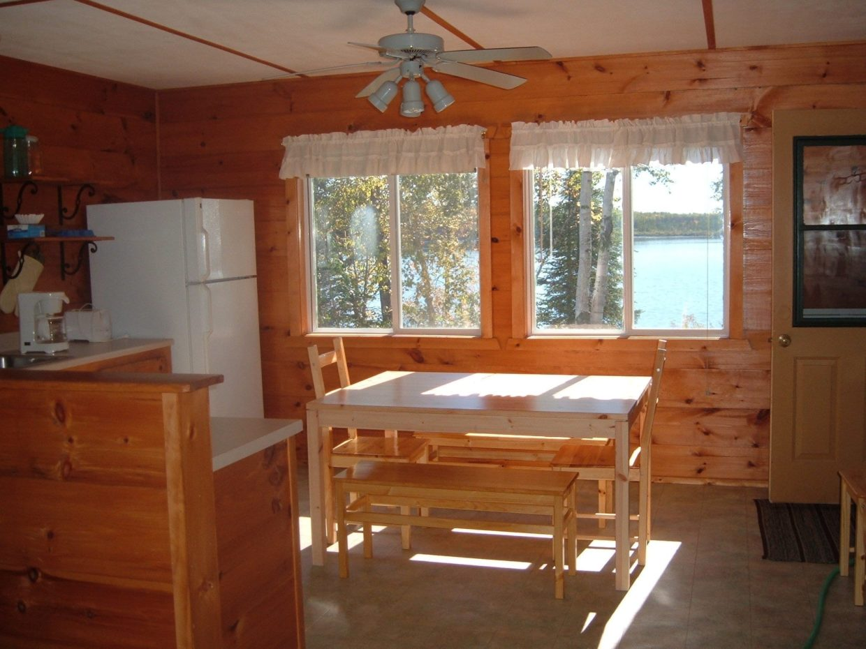 Lakefront cabin kitchen at Everett Bay Lodge