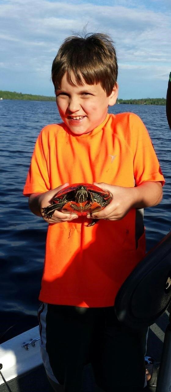 Boy holding turtle at Lake Vermilion