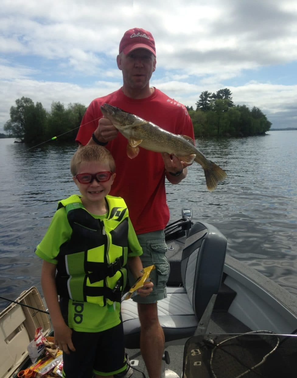 dad & son with walleye on Lake Vermilion