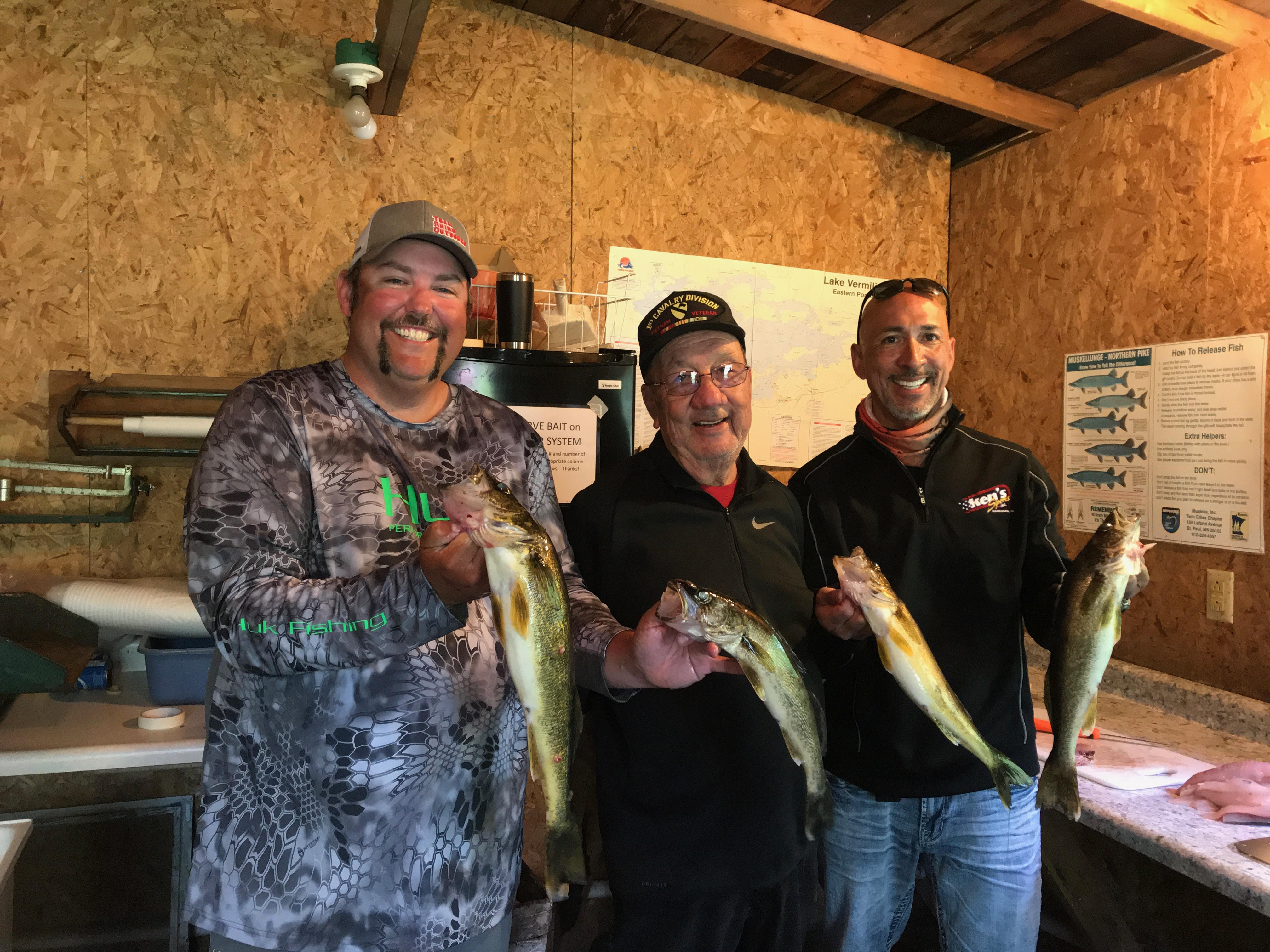 3 men holding walleyes