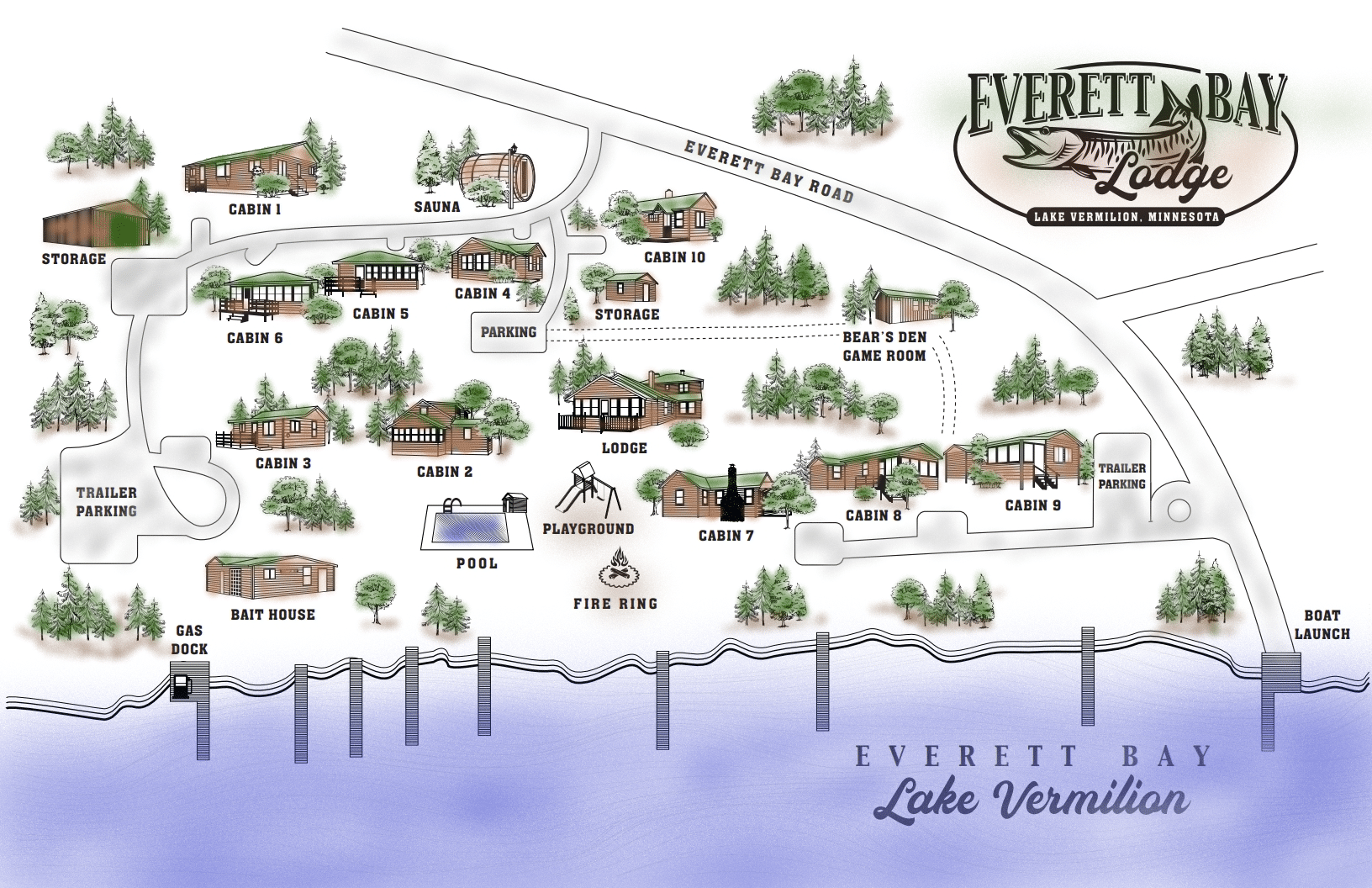 Everett Bay Lodge Property Map